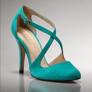 Teal Suede Talbots Luisa Emerald Heels, size 5.5B